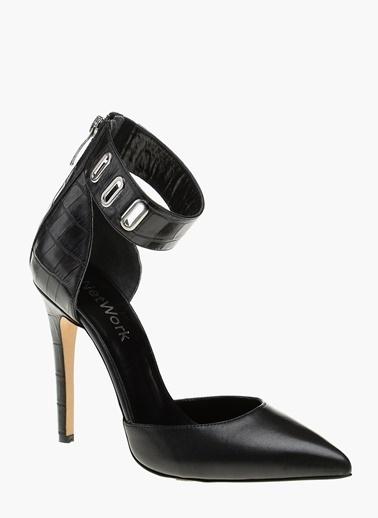 NetWork %100 Deri İnce Topuklu Ayakkabı Siyah